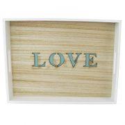 Drewniana Taca dekoracyjna z uchwytami Love