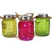 Zestaw 3 Kolorowy Lampionów słoików LED lampka