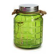Kolorowy SŁOIK Lampion LED zielony lampka ze sznurkiem jutowym 20 cm