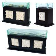 Czarne drewniane świeczniki z ceramiką i szkłem