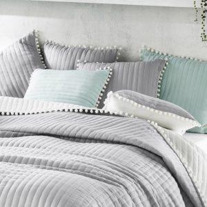 Ozdobna POSZEWKA na poduszkę z pomponami 45x45 szara
