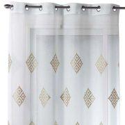 Firana do salonu elegancka biała złote wzory 140×240