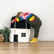 Duży worek na zabawki DOMEK biały pojemnik bawełniany 65cm