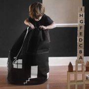 Pojemnik worek na zabawki DOMEK czarny bawełniany 65cm
