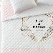 NARZUTA pudrowy róż do sypialni biała pikowana 200×220