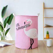 Pojemnik na zabawki różowy z białym flamingiem materiałowy