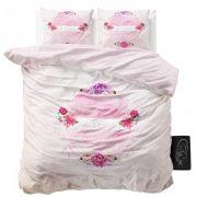 POŚCIEL bawełniana pudrowy róż kwiaty 200x220 różowa