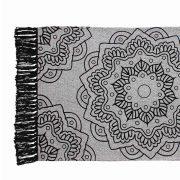 Dywanik bawełniany mandala z frędzlami szary czarny 50×80