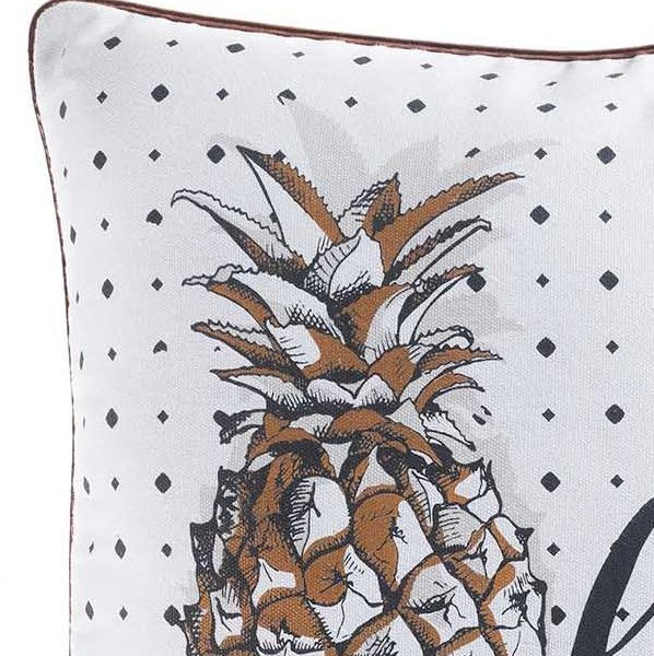 Poszewka ozdobna biała z ananasem 40x40 z lamówka