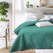 NARZUTA zielona 170×210 pikowana dwustronna geometryczne wzory