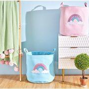 Kosz na zabawki różowy z kolorową tęczą pojemnik Rainbow