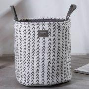 Pojemnik szary na pranie i tekstylia materiałowy kosz Jodełka