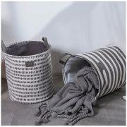 Pojemnik na pranie i tekstylia materiałowy kosz grafitowo szare paski