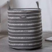 Pojemnik na pranie grafitowy materiałowy kosz na tekstylia Szlaczki