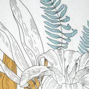 POŚCIEL bawełniana szkicowany wzór 200×220 biała musztardowa