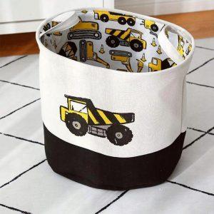 Pojemnik na zabawki dla chłopca kosz z pojazdami