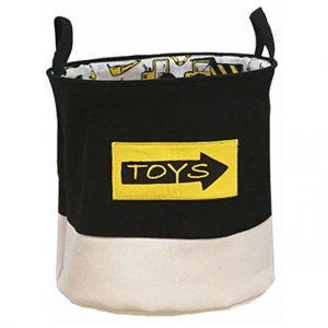 Kosz na zabawki do pokoju chłopięcego brązowy TOYS z pojazdami