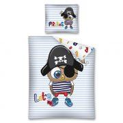 Pościel dla chłopca Pirat niebieska w paski bawełniana 140x200