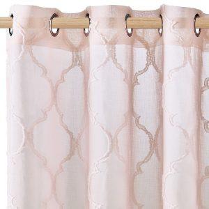 Firana różowa marokańska koniczyna 140x250 na przelotkach