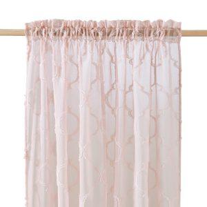 Firana różowa na taśmie marokańska koniczyna 140x250