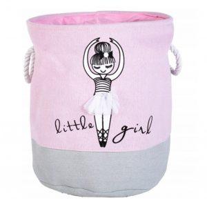 Kosz na zabawki z Baletnicą różowy szary dla dziewczynki