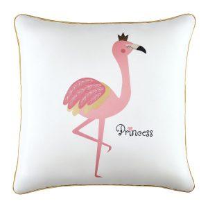 Poszewka ozdobna z flamingiem biała ze złotą lamówką 45x45