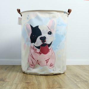 Kosz na zabawki Buldog pies pudrowy róż błękit pojemnik