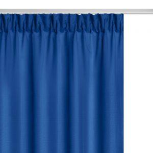 Zasłona niebieska na taśmie gładka gotowa 140x250 matowa