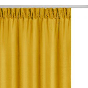 Zasłona żółta na taśmie musztardowa gładka gotowa 140x250