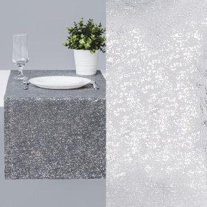 Bieżnik na stół szary srebrny 40x140 ze błyszczącym nadrukiem