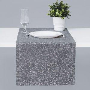Bieżnik na stół grafitowy srebrny 40x140 ze błyszczącym nadrukiem