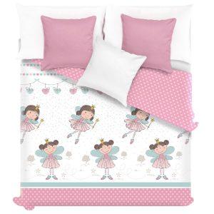 Narzuta z wróżkami biała różowa miętowa serca 140x200 dla dziewczynki