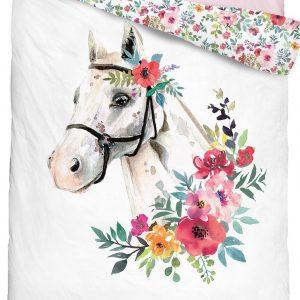 Pościel młodzieżowa z koniem i kwiatami 160x200 bawełniana KOŃ