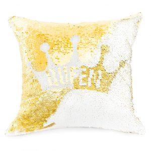Poszewka z cekinami dekoracyjna złota biała QUEEN 40x40