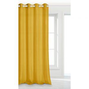 Zasłona żółta na przelotkach jednobarwna musztardowa 140x250