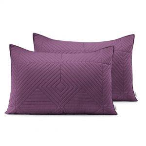 Poszewka fioletowa ozdobna pikowana geometryczna 50x70