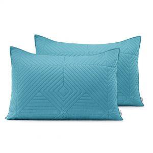 Poszewka pikowana geometryczna niebieska szara 50x70 ozdobna