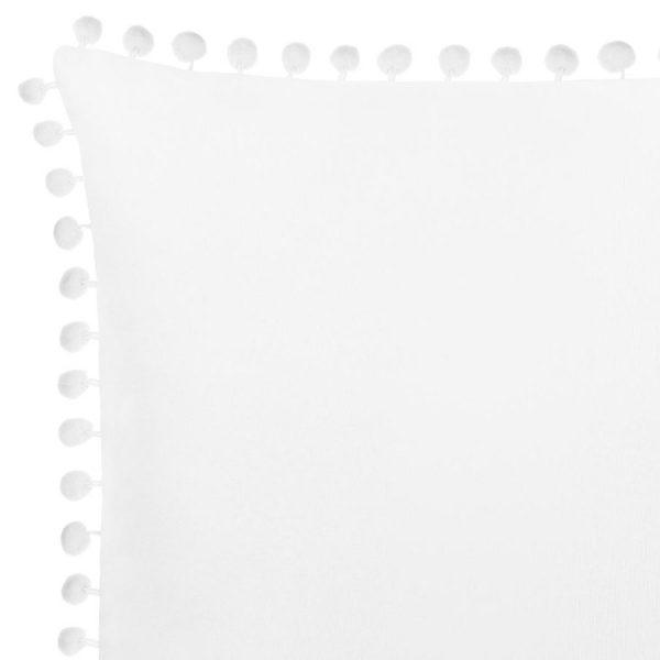 Poszewka z pomponami biała gładka 45x45 dekoracyjna