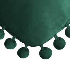 Poszewka z pomponami butelkowa zieleń 45x45 dekoracyjna