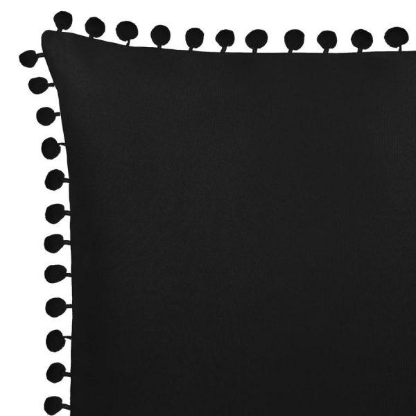 Poszewka z pomponami czarna gładka 45x45 dekoracyjna