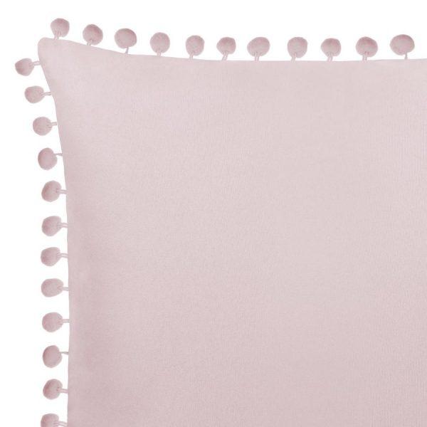 Poszewka z pomponami różowa pudrowa gładka 45x45 dekoracyjna