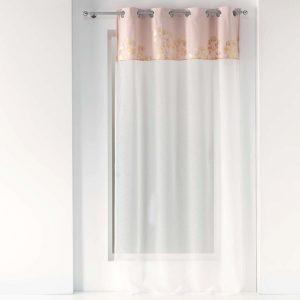Firana pudrowy róż złote wzory biała dekoracyjna 140x240 velvet