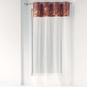 Firana dekoracyjna brudny róż złote wzory biała 140x240 velvet