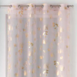 Firana pudrowy róż złota liście miłorzębu elegancka Glamour 140x240