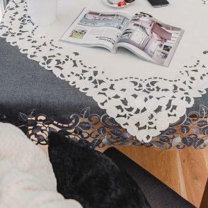 Obrus z gipiurą elegancki haftowany ecru liście 110x16