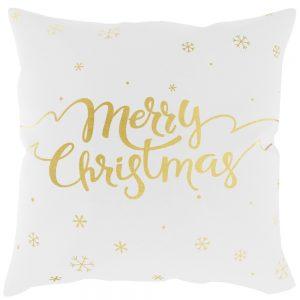 Biała poszewka świąteczna ze złotym nadrukiem Merry Christmas