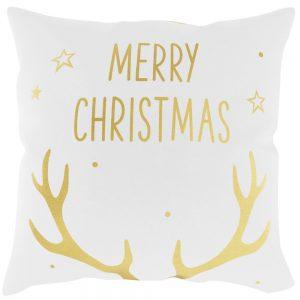 Biała poszewka ze świątecznym wzorem złoty nadruk rogi Renifera