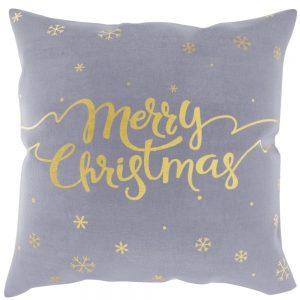 Szara poszewka świąteczna ze złotym nadrukiem Merry Christmas