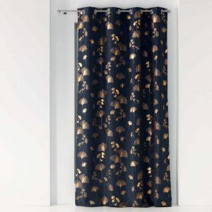 ZASŁONA ciemny granatowy złota liście miłorzębu 140x260 elegancka