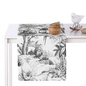 Bieżnik biały czarny szkicowany wzór zwierzęta Tropic 40x140